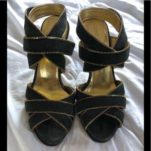 DKNY Grey Suede Heels with Zipper Detail
